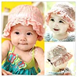 SwirlColor Pink Lace Bucket Hat Soft Cotton Sun Hat For Baby Girls
