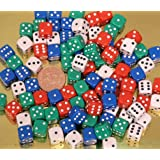 Dice, spot. Pack of 100 x 12mm. diameter asst'd cols 00561by The Dice Place