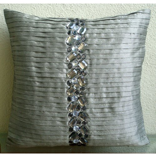 Crystal Heaven - 26X26 Inches Square Decorative Throw Silver Silk Euro Sham Covers With Pintucks And Embellished With Crystals front-797300