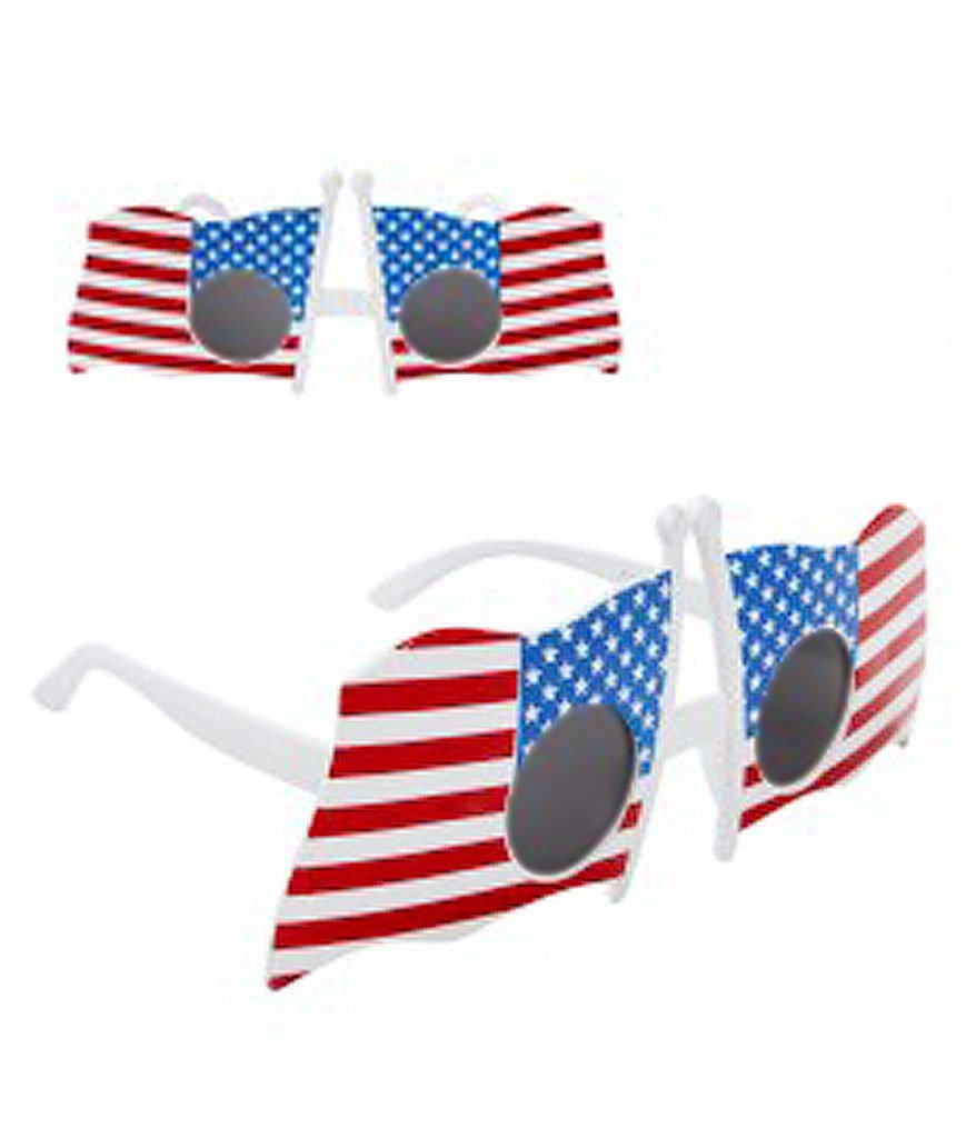c5b4fde732d These American flag sunglasses are perfect for any patriotic event or  holiday! They will fit an average adult Each box contains 1 pair of  sunglasses.