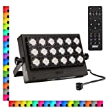 SANSI 100W RGB LED Flood Light with Plug, 16 Colors 4 Modes Color Changing Dimmable Decorative Party Stage Landscape Light with Remote Control, IP66 Waterproof Super Bright LED Security, AC100-240V (Color: Multicolor)