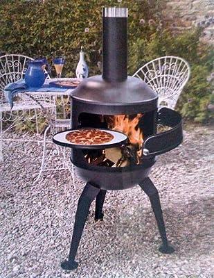 La Hacienda Toscana Steel Chiminea Bbqbarbecue Pizza Oven With Pizza Plate
