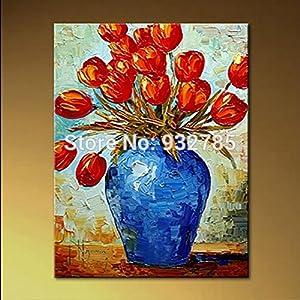 100 handmade abstract knife flower oil for Plantas decorativas amazon