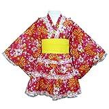 アスナロ(浴衣) 浴衣ドレス 女の子 ジュニア ゆかた シフォン帯付 花 蝶 浴衣