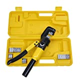 10-Ton 9 Dies Hydraulic Wire Crimping Terminal Battery Cable Powerful Crimper Tool w/ Durable Plastic Case & Chrome Finish for Electrical Welding Cables Power Wires (Color: Back & Yellow, Tamaño: Case dimension: 13 3/4