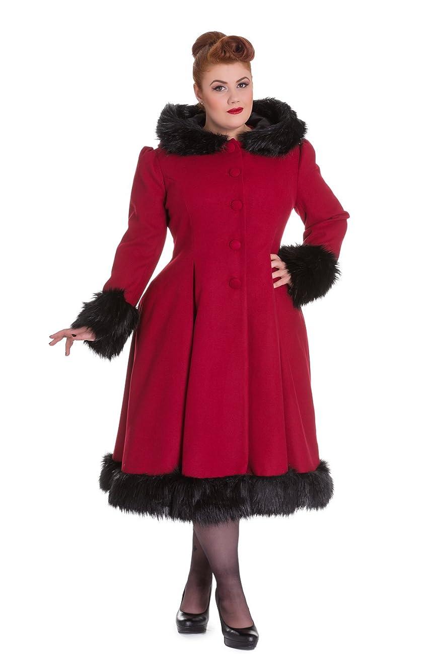 Hell Bunny Elvira Burgundy Long Hooded Vintage Fur Collar Winter Long Swing Coat 0