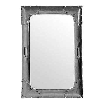 Protege Homeware Metal Antique Silver Aviator Wall Mirror
