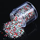 ECBASKET 1 Jar Hottest Hexagon Shinning Green And Red Color Glitter Powder Nail Dust