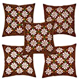 Rajrang Maroon Cotton Patch Work Cushion Cover Set Of 5 Pcs #Ccs01206