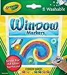 Crayola - 58-8165-E-000 - Loisir Cr�atif - 8 Feutres pour Fen�tres Lavables