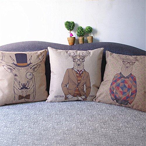 luxbon-3er-set-gentleman-brille-hirsch-leinen-kissenbezug-kissen-fall-sofa-taille-throw-cover-pillow