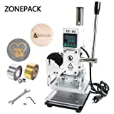 ZONEPACK 1013cm Digital Embossing Machine Hot Foil Stamping Machine Manual Tipper Stamper for PVC Leather Pu and Paper Stamping with Paper Holder and Scale (Color: Silver and White, Tamaño: 10*13cm)