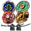 Beyblade Combo 4 Pack Duouranus + Meteo L-Drago Rush Red + L-Drago Gold Destructor + Flame Libra Metal Fusion 4D with 2x LL2 Launcher and Rip Cord // SHIPPED AND SOLD FROM US