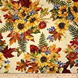 Kanvas Sunflower Fields Metallic Sunflower Bouquet Cream Fabric