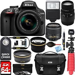 Nikon D3400 24.2 MP DSLR Camera + (18-55mm VR Nikon & 70-300mm SLD DG Sigma Lens Package, Black) + Bundle 64GB SDXC Memory + Photo Bag+Wide Angle Lens + 2x Telephoto+Flash + Remote + Tripod + Filters