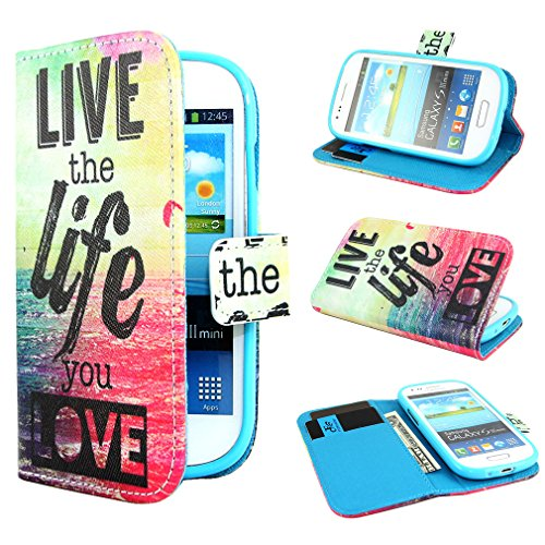 ivencase Painting Art Design Wallet PU Leather Stand Flip Case Cover for Samsung Galaxy S3 III Mini i8190 + One