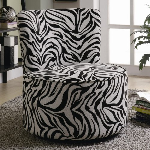 round swivel accent chair in exotic zebra pattern
