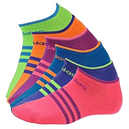 adidas Girls Superlite No Show Socks (Pack of 6), Solar Pink/Solar Green/Solar Blue/Vivid Pink/Glow Orange/Power Purple, Large