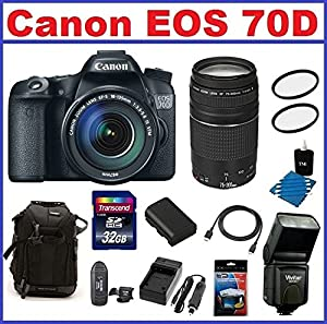 Canon EOS 70D DSLR Camera with Canon EF-S 18-135mm f/3.5-5.6 STM Lens (USA Warranty)- Canon Zoom Telephoto EF 75-300mm II Lens, Also Includes Backpack, Spare Battery & Travel Charger, 32GB SDHC Card & Card Reader, 2 UV Filters, Mini HDMI Cable, Screen Pro
