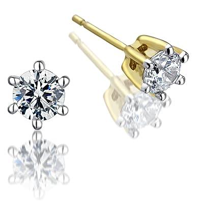 1 Ct Diamant Clous d/'oreilles 5 mm Ronde Diamant Solitaire Boucles D/'oreilles 14k Or Rose