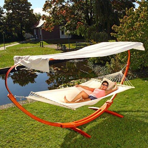 XXL HÄNGEMATTE mit Gestell 400x120cm Liege Gartenliege Sonnenliege Holz Möbel
