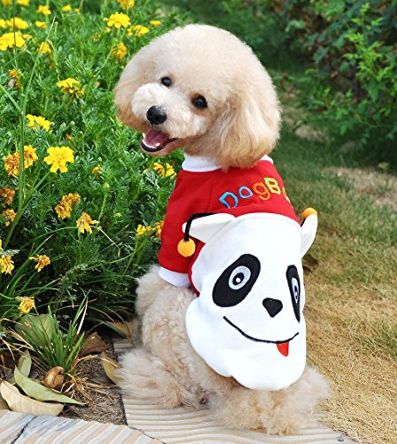 Pet Cat Dog Coat Jumper Panda Costumes Sweaters Dog Clothes Red M