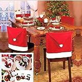 [White Castle] クリスマス サンタクロース 帽子型 チェアカバー 椅子用 かわいい カトラリー カバー ( ナイフ フォーク 入れ)付き (2枚セット)