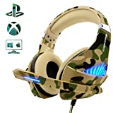 Beexcellent PS4 Gaming Headsetã?2019 Upgradedã?? Xbox One PC PS3 Fashionable Deep Bass Headphone with Noise Immunity, Friction-Reduction Ca