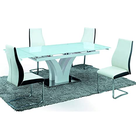 Sararreda Extendable Design Table - In White Lacquered Wood For Kitchen Living Room Office