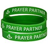 Prayer Partner Silicone Bracelet Green with Cross Pack of 12