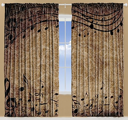 Musical Decor Curtains By Ambesonne, Music Notes Chopin