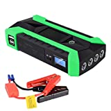 Multifunction Car Jump Starter Kit, Peak 600A 89800mAh Portable 6 in 1 Auto Battery Booster Charger Power Bank with Phone Charger LED Lighting for Gasoline/Diesel Engined Car Motorcycle Yacht (Green) (Color: Green)