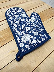 "Indigo Glove Quilted Oven Mitt Floral Print Dark Blue Kitchen Accessory 100% Cotton Size 8""x13"""