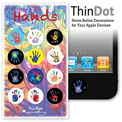 "ThinDot Home Button Stickers for iPhone, iPad and iPod Touch ""Hands"""