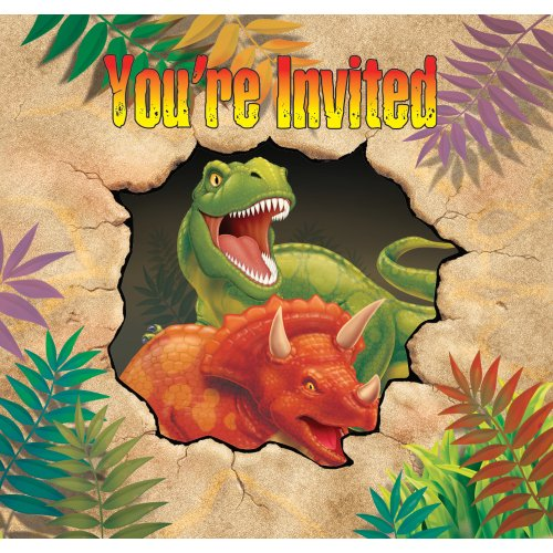Creative Converting Dino Blast 8 Count Enhanced Party Invitations - 1