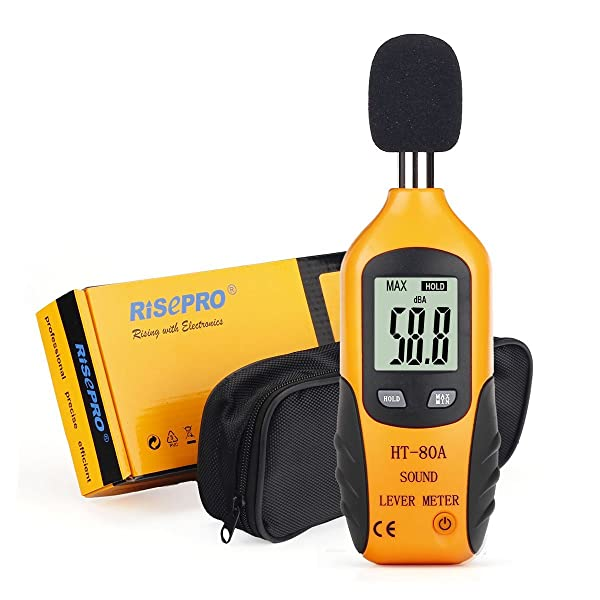 RISEPRO Decibel Meter, Digital Sound Level Meter 30 – 130 dB Audio Noise Measure Device Dual Ranges HT-80A (Color: Yellow, Tamaño: Small)