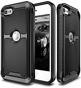 iPod Touch 6 Case, E LV iPod Touch 6 - Hybrid [Scratch/Dust Proof] Armor Defender Slim Shock-Absorption Bumper Case for iPod Touch 5 / iPod Touch 6 - [BLACK/BLACK]