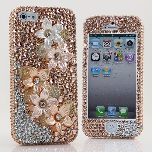 Great Sale BlingAngels® 3D Luxury Bling iphone 5 5s Case Cover Faceplate Swarovski Crystals Diamond Sparkle bedazzled jeweled Design Front & Back Snap-on Hard Case (100% Handcrafted by BlingAngels) (Faded Flowers Design)