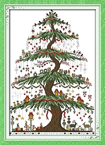 "Good Value Cross Stitch Kits Beginners Kids Advanced -Christmas Tree 11 CT 24""X33"", DIY Handmade Needlework Set Cross-Stitching Accurate Stamped Patterns Embroidery Home Decoration Frameless"