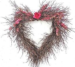 Larkspur Heart Twig Wreath 20 in