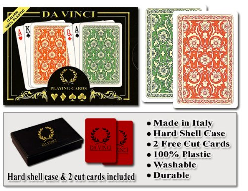 Da Vinci Venezia, Italian 100% Plastic Playing Cards, 2-Deck Bridge Size Regular Index Set, with Hard Shell Case & 2 Cut Cards