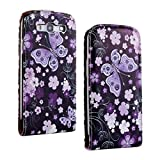 SuperStore_Electronics(TM) Stylish Printing Retro Style Durable Slim-Fit Flip PU Leather Protective Defense Stand Case Cover Compatible For Samsung i9300 Galaxy S3 III (cool brunet flower butterfly)
