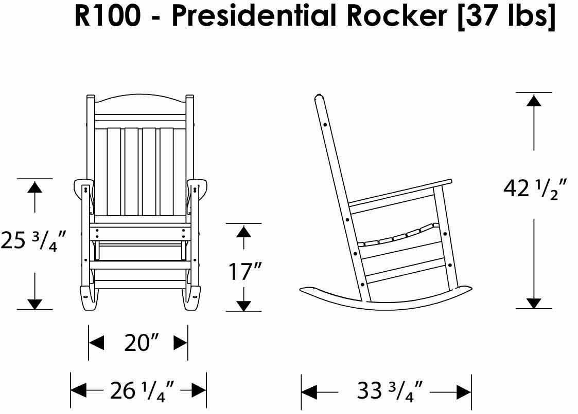 POLYWOOD R100BL Presidential Outdoor Rocking Chair, Black