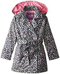 Pink Platinum Little Girls\' Multi Color Animal Trench Jacket, Black, 6X