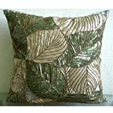 Green Camoflague - Decorative Pillow Covers - Silk Pillow Cover Embellished with Beads &amp; Sequins