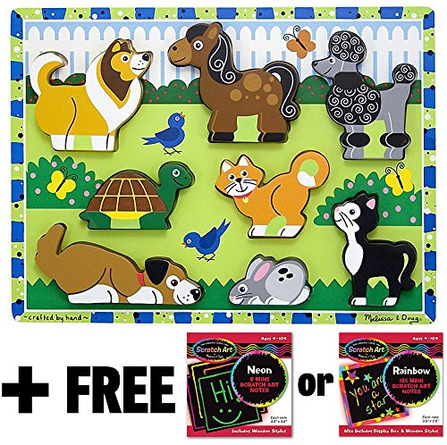 Pets Themed Chunky Puzzle + FREE Melissa & Doug Scratch Art Mini-Pad Bundle [37242]