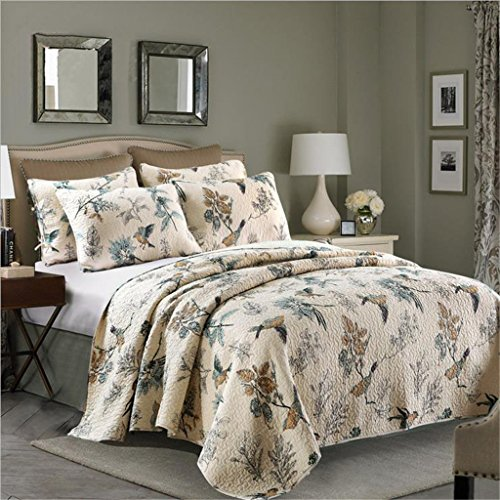 Best Comforter Sets, Flying Birds Printing 3 Piece Cotton Bedspread/Quilt Sets, Queen (Target Queen Comforter Set compare prices)