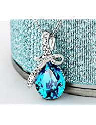 Swarovski Elements Water Drop Blue Austria Crystal Rhinestone Necklace For Women Fashion Jewellery By Ananth Jewels...
