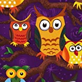 Fat Quarter Nite Owls Purple Background Cotton Quilting Fabric - 50 x 55cm