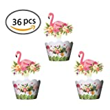 Flamingo Cupcake Toppers and Wrappers Single Sided Kids Party Cake Decorations Set of 36